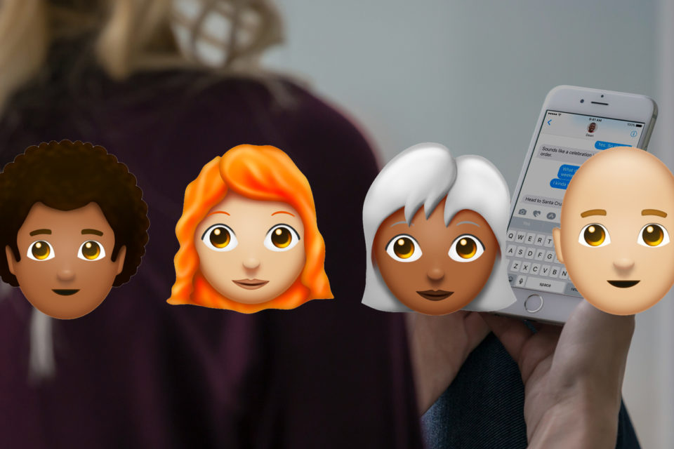 Redhead, afro, and bald emojis