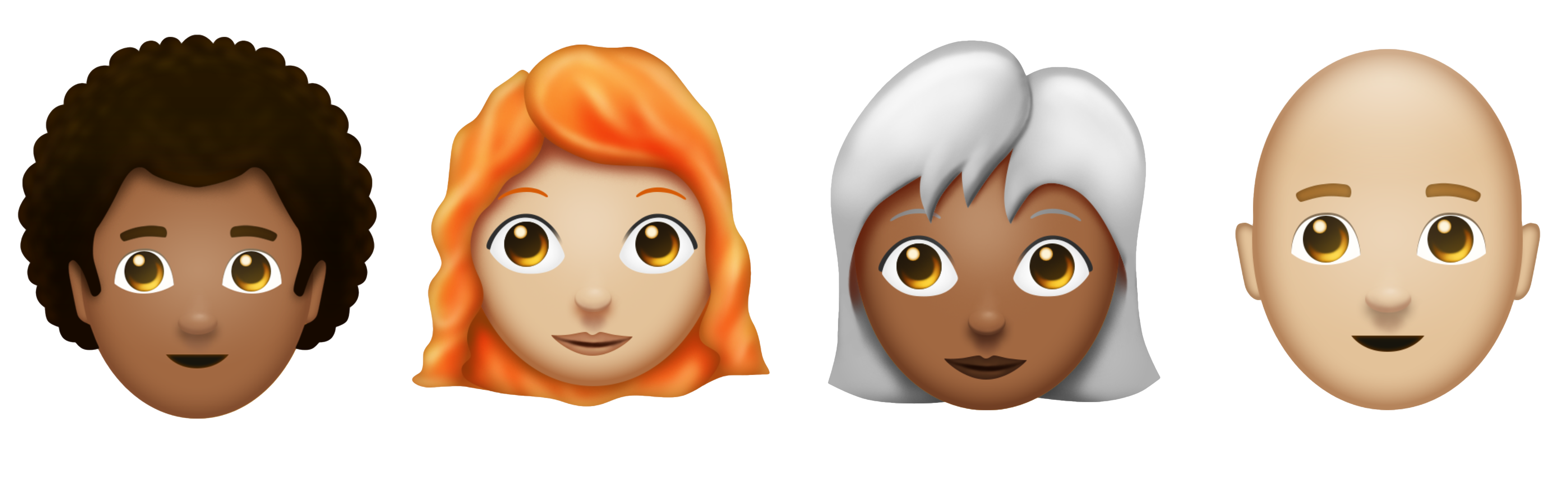 Redhead, afro, and bald emojis