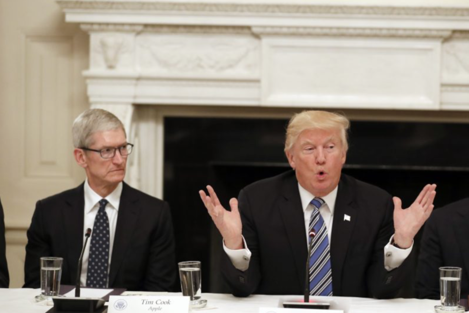 Trump says Apple plans to build three plants in US