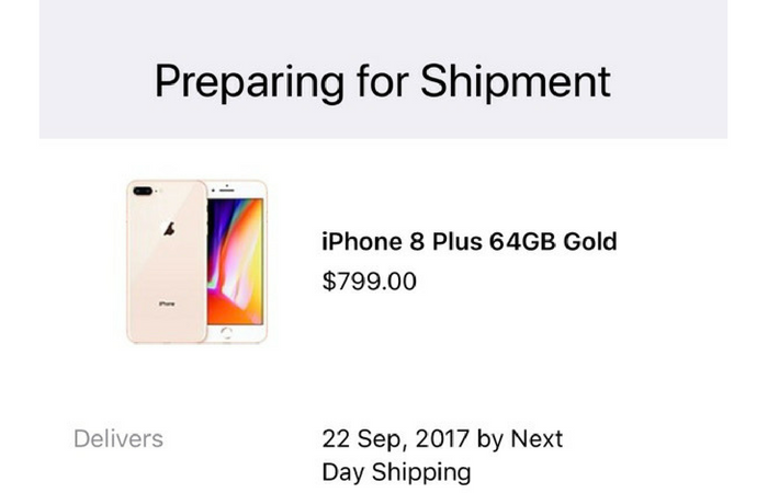 iPhone 8 order statuses change to 'Preparing for Shipment' ahead of September 22nd delivery