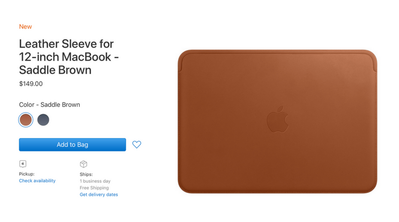 Apple now sells an expensive leather sleeve for 12-inch MacBooks