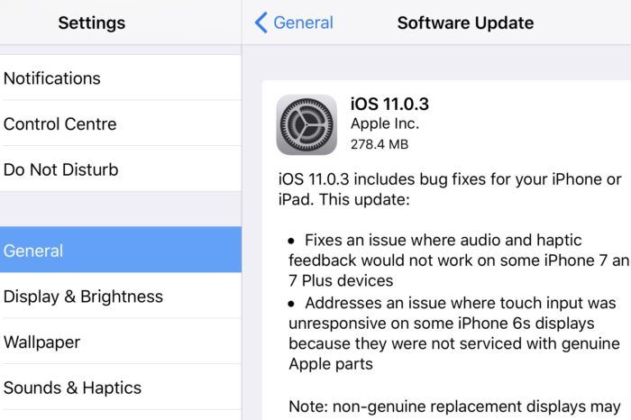 Apple releases iOS 11.0.3