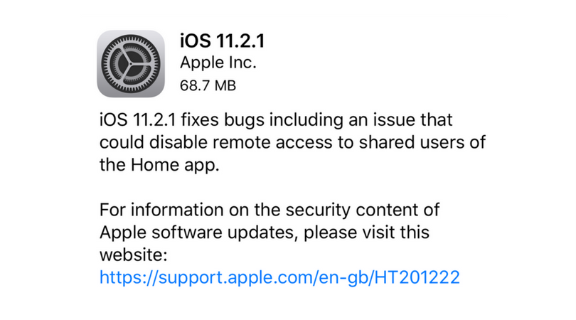 IOS 11.2.1 Released With HomeKit Vulnerability Fix