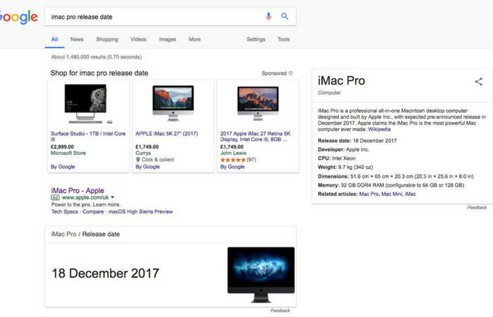 iMac Pro launching December 18th according to Google