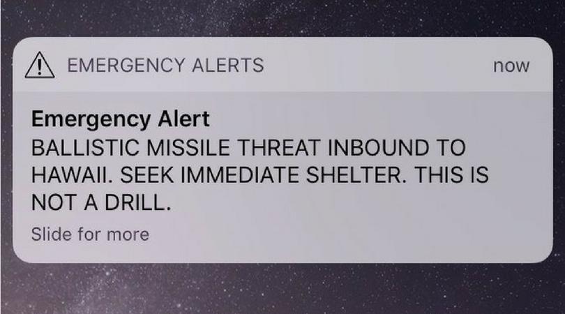 Hawaii 'ballistic missile threat' notification
