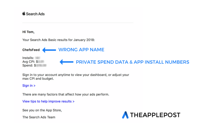 Apple sending Search Ads spend and app install reports to wrong developers