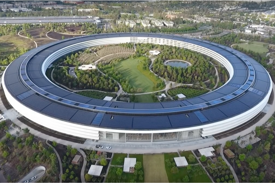 Drone footage shows Apple Park...