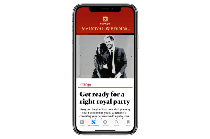 Apple News featuring Royal wedding in new spotlight section