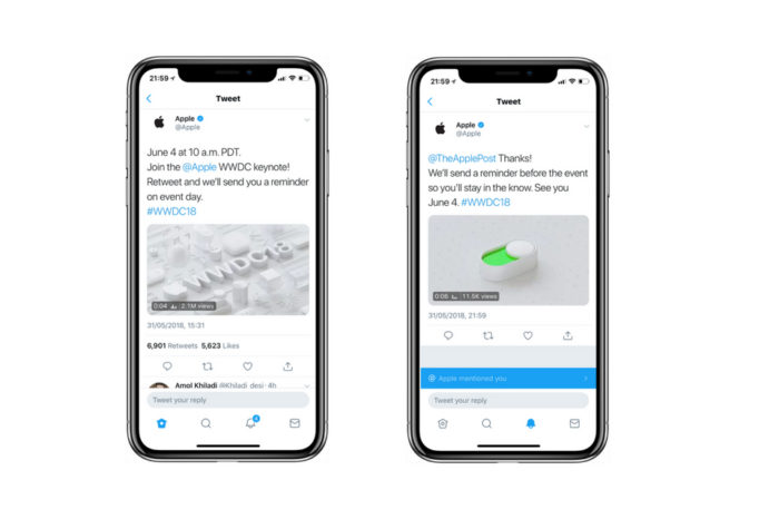 Apple tweeting special WWDC reminders from @Apple Twitter handle