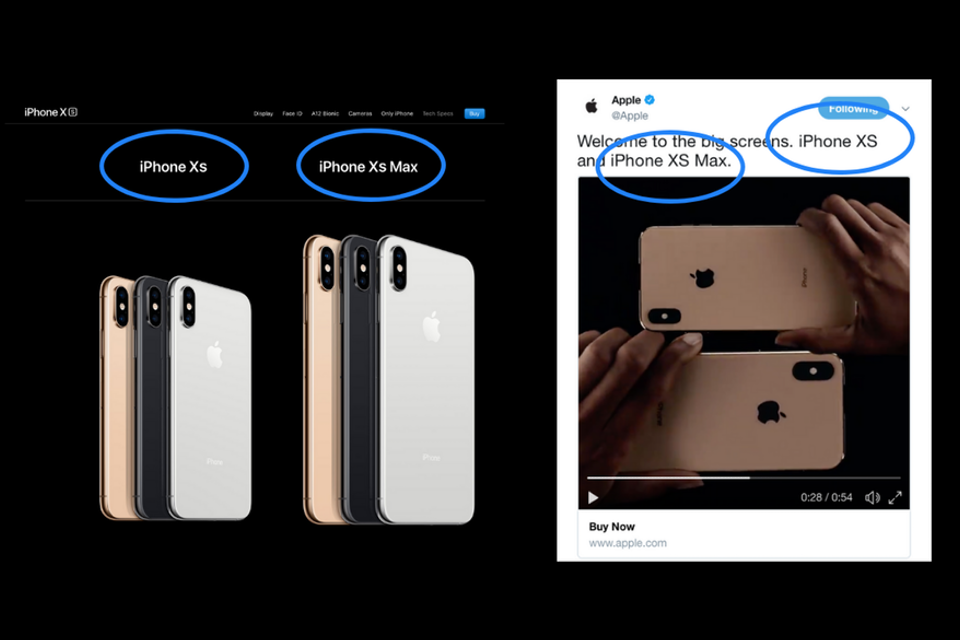 iphone xs or iphone xs? even apple gets confused whether or not the