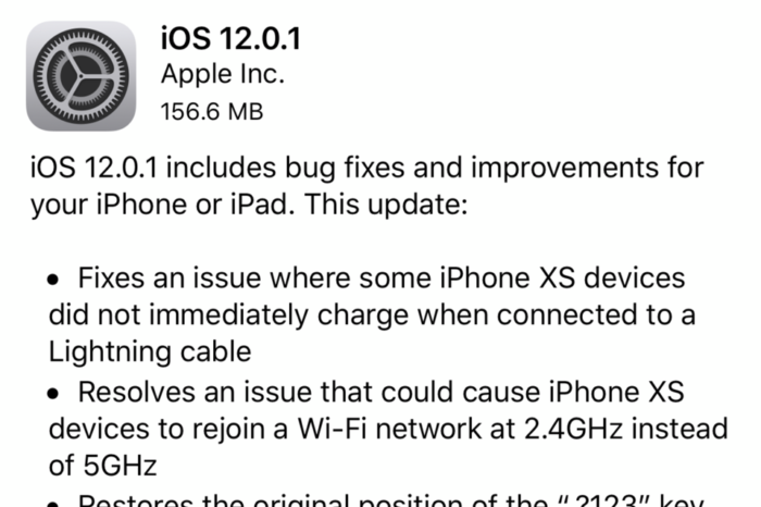 Apple releases iOS 12.0.1 with fix for iPhone and iPad charging bug