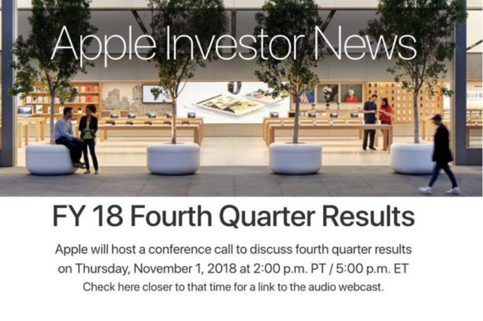 Apple announcing Q4 2018 earnings results on November 1
