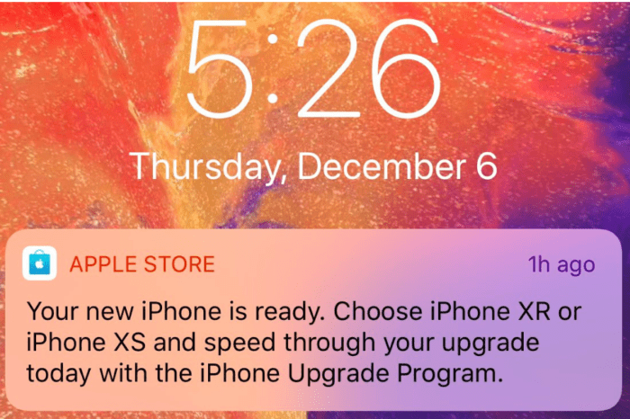 Apple Store app sending push notifications to entice people to buy a new iPhone
