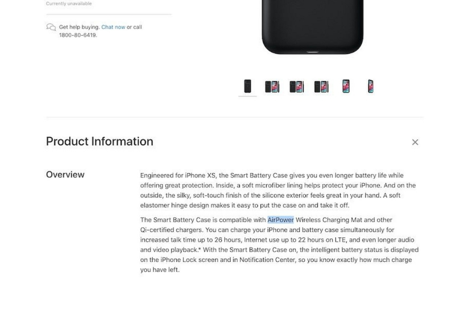 Apple briefly mentions AirPower on Smart Battery Case webpage