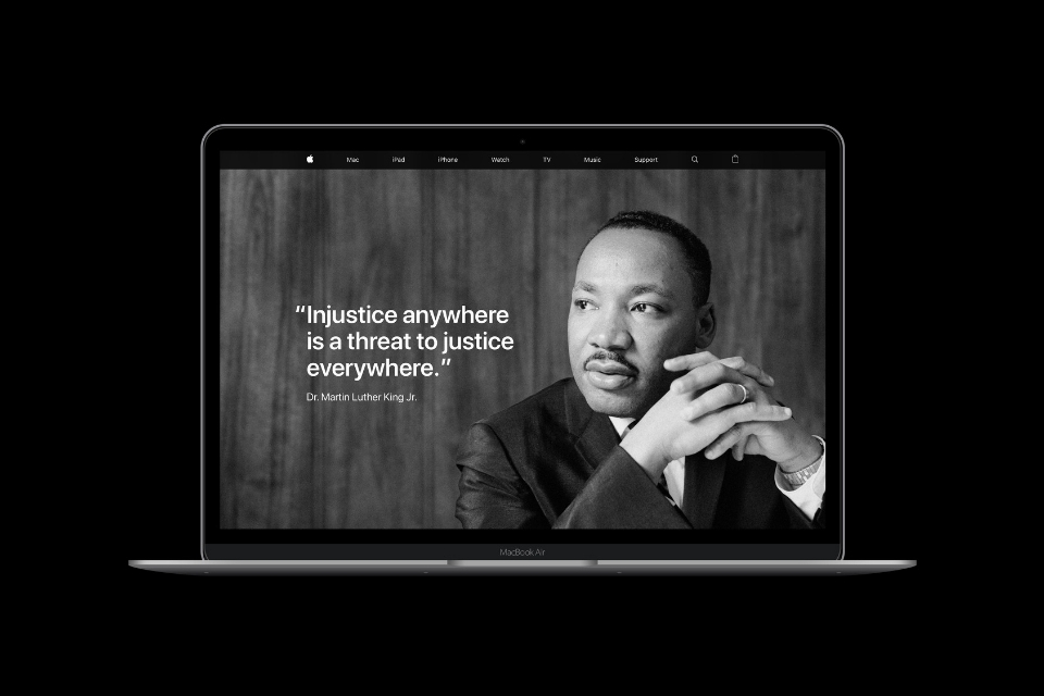 Apple celebrates Martin Luther King Jr. Day with full-page tribute online