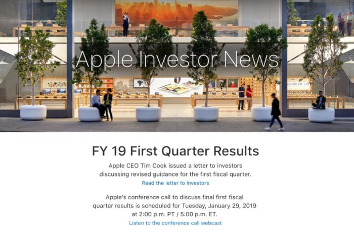 Apple to share Q1 2019 earnings results on January 29, following revenue guidance cut