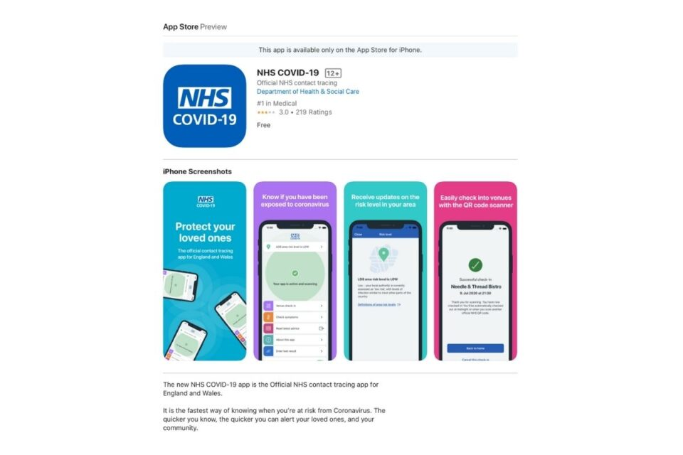 UK releases 'NHS COVID-19' contact tracing app with Apple's exposure API
